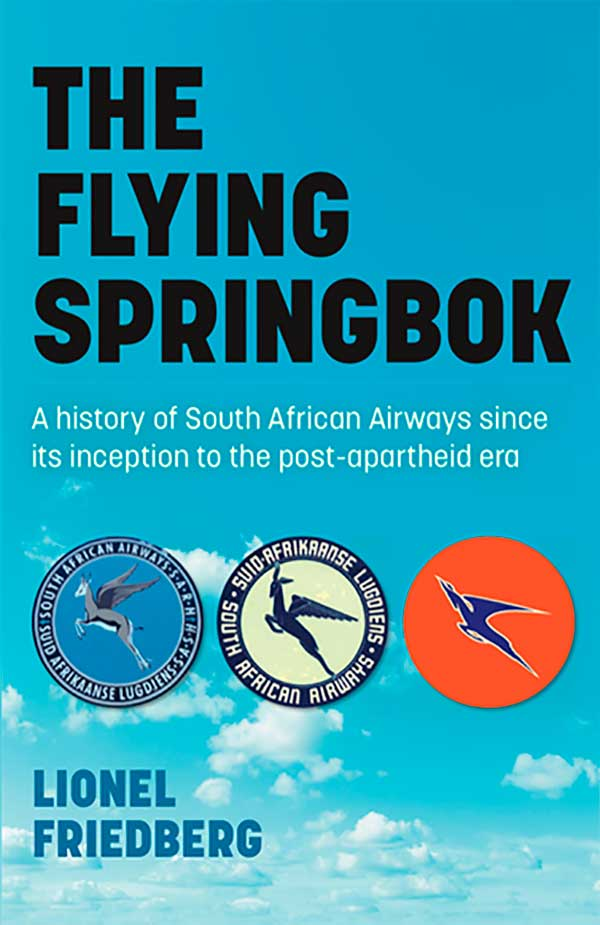 Front cover image of the book The Flying Springbok showing a cloudy sky with icons of flying springboks